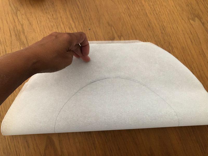 semi-circular sheet of baking paper