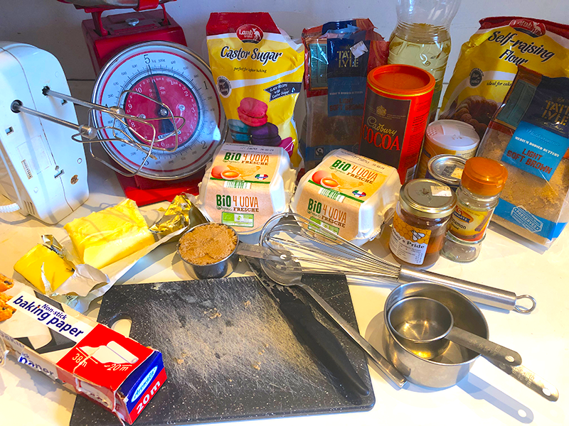 chocolate cake ingredients on counter